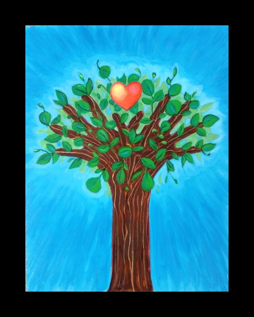 Painting of a tree created by Angel Ambrose with two hands as the trunk and branches and a heart in the center of the leaves.